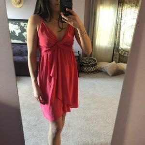 Coral pink satin dress from Banana Republic